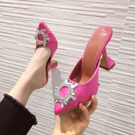 Sunflower Rhinestone high heels women's shoes pointy wine cup and silk sandals