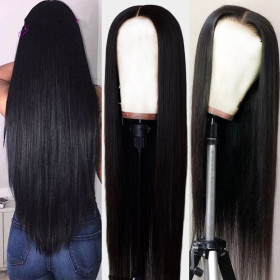 Pre Plucked Hairline 13X4 Brazilian Straight Lace Frontal Wig With Baby Hair Remy