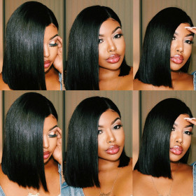 13X4 Short Bob Lace Front Wigs Peruvian 100% Remy Hair For Black Women Cynosure Straight Lace Front Human Hair Wigs 150% Density