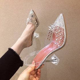 Rhinestone clear pointed high heel crystal glass and sandals