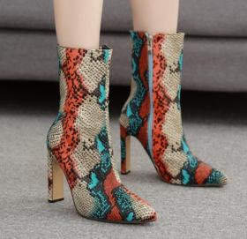 Sexy color snake pattern square heel pointed middle tube boots