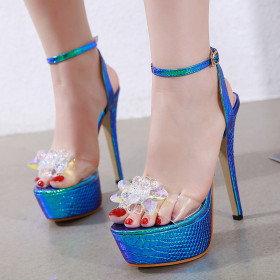 Crystal flower sandals with one button on sexy waterproof platform