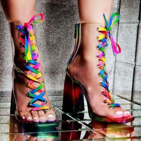Rainbow bandage chunky high heel Roman oversized cool boots