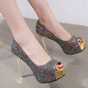 Sexy thin high heel fish mouth single shoe Sequin shallow mouth waterproof platform