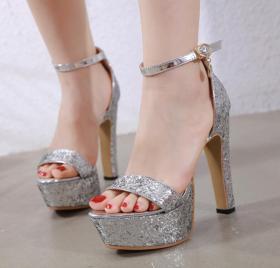 Thick high-heeled platform Sequin snap sandals