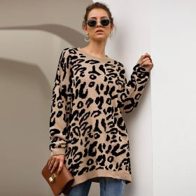 womens loose pullovers and sweaters 2019 fall clothing ladies winter fashion leopard print knitted sweater plus size VD3083
