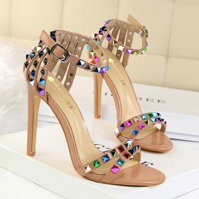 2020 Women 11cm High Heels Heels Rivets Studded Sandals Lady Sandles Stiletto Glossy Pumps Stripper Summer Fetish heels
