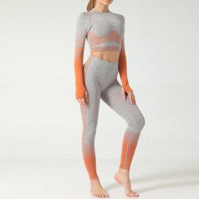 2 Piece Women's Seamless Leggings Striped Knitted Yoga Pants Push Up Leggings Top Bra Gym Set Clothing Workout Set Sportswear