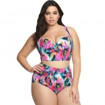 Printed high waist split bikini