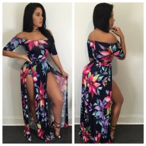 Printed piece split dress
