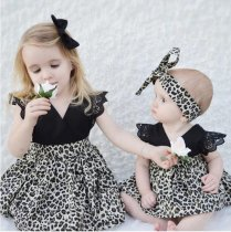 Sisters dress leopard fly sleeves baby dress