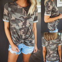 Ribbed round collar camouflage twisted casual T-shirts
