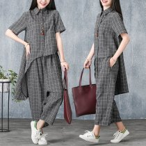Loose irregular jacket + baggy pants fashion two-piece suit