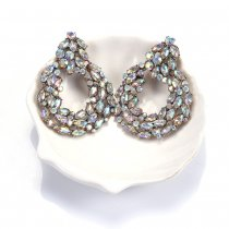 AB color diamond earrings European and American fashion retro full diamond earrings