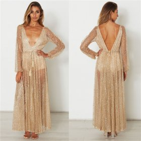 Sequins long sleeves evening dress sexy front and rear deep V long dress