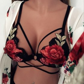 Sexy Embroidered Flowers Lace Underwear