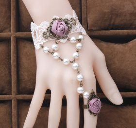 Lace Rose Bracelet with Ring
