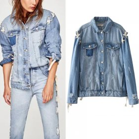 Fashion washable gown strap denim loose jacket