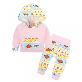 Girl Geometric Print Hooded Two Piece Set