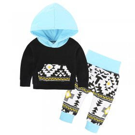 Children blue geometric print hooded two pieces