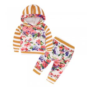 Printed Striped Hooded 2 sets of children's suits