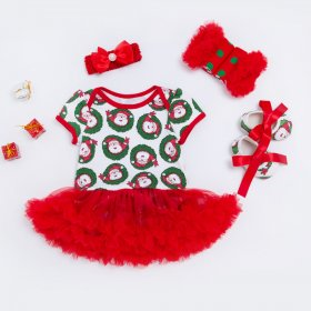 Short sleeved dress Christmas ha 0-2 years old female baby romper