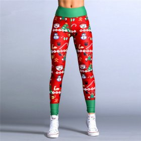 Sexy christmas feature printing pants