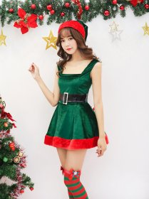 Sexy Green sling with Christmas skirt