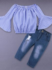 Shoulder striped shirt and jeans suit