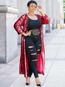 Sexy sequins  Cardigan  Loose coat