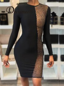 Pure color sequins round neck long sleeve hip and hip dresses.