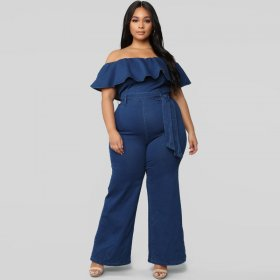 Wash lotus leaf edge shoulder Tight Sexy Jumpsuit