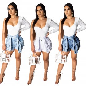 Personality high waist tied sleeve fake two pairs of worn-out fringed retro grey jeans shorts