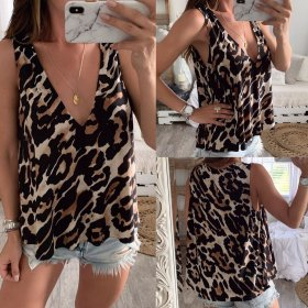 Loose-fitting sexy deep V-leopard-print vest