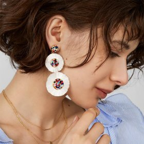 Alloy fringed flower multi-layer Earrings