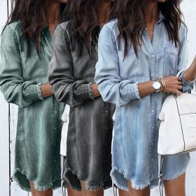 Women Casual Denim Shirt Dress Ladies Long Sleeve Turn Down Collar Office Lady Loose Shirt Dress 2019 New Style Party Dress
