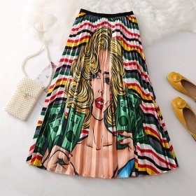 A-shaped skirt with pleated skirt pattern printed pendant skirt