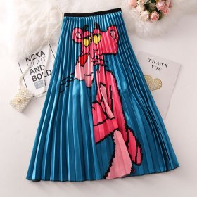 Cartoon Pink Panther Pleated Half-length Skirt