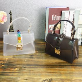 Gradual recreational rivet bag transparent dazzling Mini jelly bag with one shoulder inclined handbag