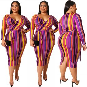 Coloured cross-tightly wrapped hip V-neck sexy dress with waistband