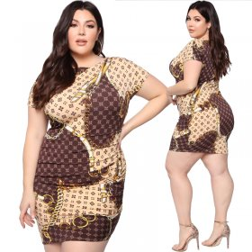 Chain-shaped printed tightly-fitting dress with hip and round collar
