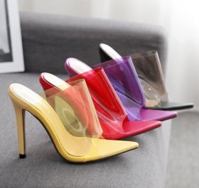 Candy-colored transparent pointed sexy high-heeled sandals