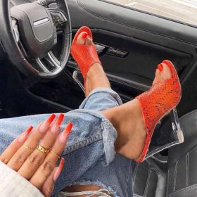 Open-toed Crystal Slope-heeled Fishmouth High-heeled Shoes