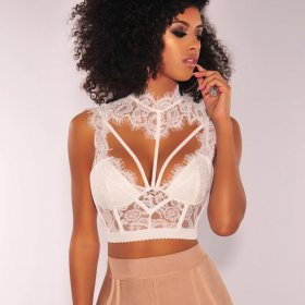 Lace neck-hung sexy backless vest