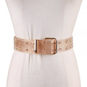 Fashion of Metal Wide Belt Double Row Round Knitting