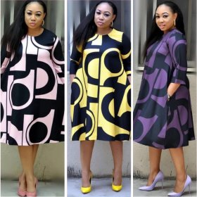 Fashionable full-body printed large-size dress