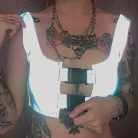 Sexy hollow schoolbag buckled reflective vest