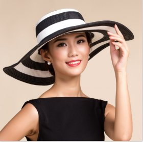 Black-and-white striped Beach Hat with large brim sunshade