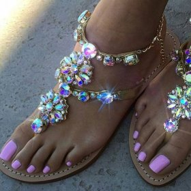 Large Diamond Chain Flat-bottomed Roman Sandals size34-47