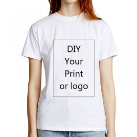 Custom printed T Shirt for Women DIY Picture LOGO Text Print White Lady Slim Top Tees Heat Transfer Process